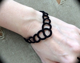 Tatted Lace Bracelet - The Dark Queen - Black Lace Bracelet