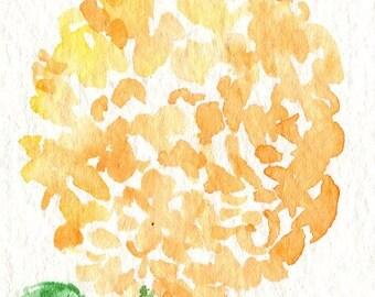 ACEO Original Orange Hydrangea watercolor painting, Small Floral decor, Flower Art Card, miniature painting, ACEO Art Card, hydrangea decor
