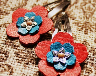 Red and Blue Leather Flower Hair Clips