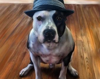 Lifelike Custom Pet Portrait, Pitbull portrait, Realistic pet art, digital portrait - custom pet art by artist Mary Jill Lemieur