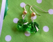 Green and Gold Shamrock 4 Leaf Clover Earrings with Swarovski Crystal and Pearls