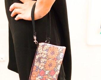 Best Friend Gift Wristlet Wallet, Black Small Flower Wallet Wristlet, iPhone Wristlet, Clutch Wristlet