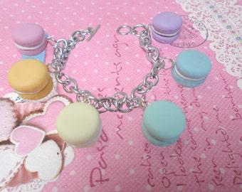 Miniature Food Jewelry: Pastel Macaron Charm Bracelet, Polymer Clay Food Bracelet