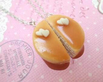 Best Friend Pancake Necklace Set: BFF Jewelry, Polymer Clay, Best Friend Necklace, Miniature Food Jewelry