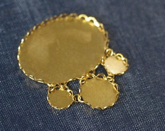Ovals & Circles Lace Edge Statement Chandelier Pendant - Tarnish Resistant 22k Gold Plated - 1pc