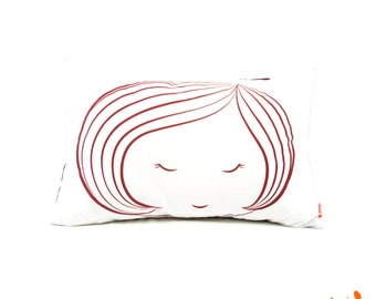 Red Print on White Cotton Girl Face Rectangle Pillow