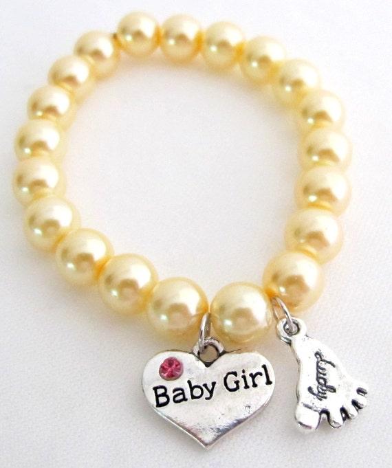 Baby Girl Bracelet - Baby Girl Bracelet Flower Girl Bracelet Lucky Charm Heart Baby Girl Bracelet Free Shipping In USA