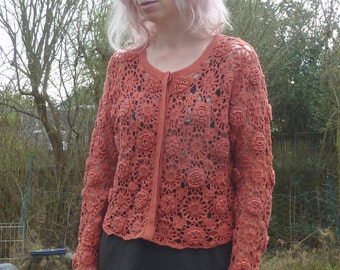 Vtg Open Weave OUTBACK RED Cropped  Cardigan Sweater osfm M