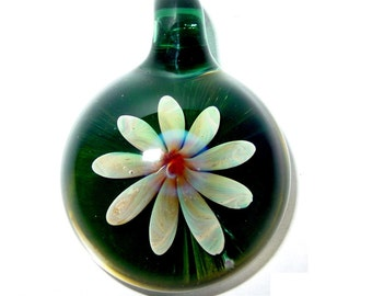 Lampwork Glass focal bead pendant - Blue Sprite Flower