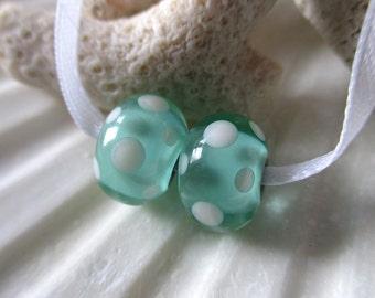 Elizabeth Creations MINT JULEP artisan lampwork matching handmade glass beads Sra