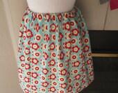blue & red flower power flannel elastic waist skirt