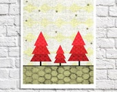 "Whimsical Christmas Tree Art Holiday Decoration Digital Print Winter Art Seasonal Picture Rustic Home Decor Wall Artwork 8.5"" x 11"" Poster"