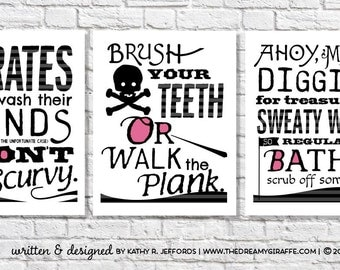 Pirate Bathroom Art Print Set Of 3. Wash Your Hands. Take A Bath.