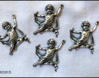 4 vintage cherub findings - matte silver ox finish