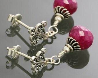 Genuine Ruby Earrings. Sterling Silver. Turkish Filigree. Silver Ear Posts. Genuine Gemstone. July Birthstone. Gift for Her.