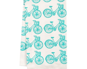 organic bike pattern tea towel BLUE