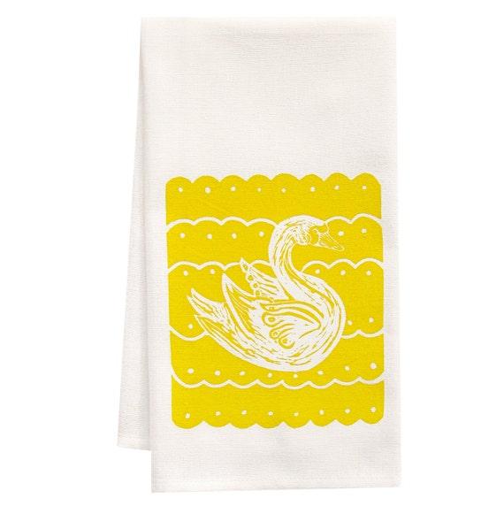 block print swan tea towel Organic