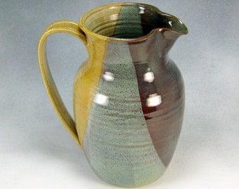Desert Yellow Large Pitcher Hand Thrown Stoneware Pottery 7