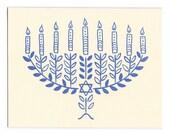 Hannukah Menorah letterpress greeting cards - set of five, blank inside