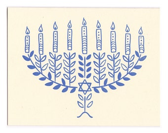 Hannukah Menorah letterpress greeting card - blank inside, single card