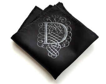 Initial pocket square. Filigree monogram font. Choose elegant black & more. Personalized silkscreened single letter mens handkerchief, A-Z.