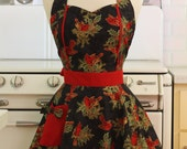 Apron Christmas Cardinals on Black MAGGIE Retro Full Apron