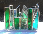 Green Triangle Shaped Rainbow Themed Stained Glass Candle Holder Zen Chakra Meditation tea light holder