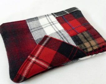Padded Patchwork Plaid Wool Kindle Sleeve, Zippered Case