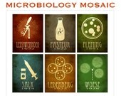 16x20 Microbiology Mosaic Art Print, Pasteur, Fleming, Salk, Leeuwenhoek, Microbiologist Poster, Rock Star Scientist, Educational Decor