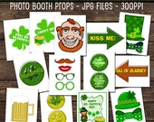 St. Patrick's Day Photo Booth Party Props, Party Backdrops, Party Props, Party Printables, Instant Download Photo Booth Props, Digital Files