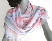 Gray Pink Shawl, Silk Chiffon Wrap, Hand Painted Scarf, Unique Hand Dyed, One of a Kind Wrap, Artisan Handmade, Jossiani, Ready to Ship