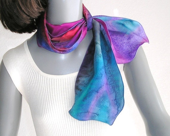 small neck scarf ponytail scarflette multicolor hat band