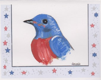 Hand Painted Blue Bird Blank Greeting Cards