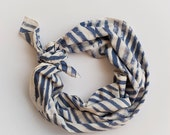 MOVING SALE READY To Ship Hand Painted Chelsea Stripe Cotton Scarf in Indigo, Anna Joyce