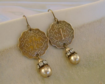 Always Anna - 1940s British India Anna Coins Vintage Pearls Rhinestones Recycled Repurposed Assemblage Jewelry Earrings