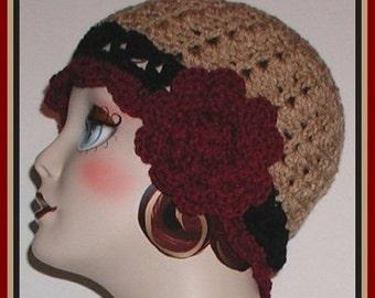 Tan Hat Cloche Flapper Black Cranberry Red Rose Large Flower