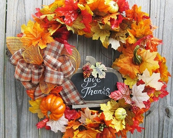 Thanksgiving Wreath -  On Sale - Fall wreath- Give Thanks Autumn wreath- grapevine wreath- front door wreath- outside wreath - SALE