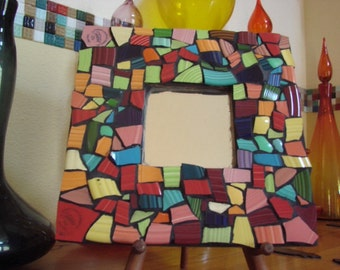 Mirror Wall Hanging Plaque Home Decor Mixed Media Mosaic Art Tile Broken Plate Solid Color Shards Tesserae