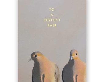 Doves Wedding Card - Congratulations - Greeting - Pair - Animal - Nature - Mincing Mockingbird