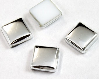 6mm Silver Flat Square Cabochon (4 Pcs) #2331