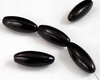 15mm Black Long Oval Bead (10 Pcs) #2588