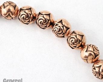 9mm Antique Copper Rose Bead (25 Pcs) #MPF016