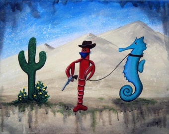 Bandito Lobster of the Sahara Sea - 8x10 Art Print - Lobster and Seahorse in a Desert Ocean - Art by Marcia Furman