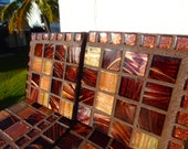 SALE Beautiful Handmade Mosaic COASTERS Rich chocolate browns colors metallic italian glass tile