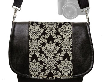 Dslr Camera Bag Purse Slr  Vegan Leather Camera Case Black Damask Tapestry Messenger Bag   Zipper Padded MTO