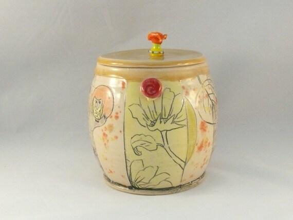 Ceramic Canister or Kitchen Storage Jar for flour, sugar, coffee, tea, pet food - lidded jar with hand carved artistic design
