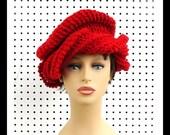 Red Crochet Hat Womens Hat, Womens Crochet Turban Hat, Crochet Beanie Hat, Red Hat Society Inspired, Crochet Winter Hat, SAMANTHA Turban Hat
