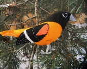 Baltimore Oriole Felt Bird Ornament,embroidered, Home Decor