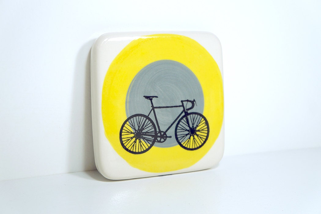tile with a road bike on yellow & storm colour block target. Made to Order.