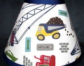ON Sale Lampshade Lamp Shade Busy LITTLE BUILDER Construction Trucks  with Pottery Barn Kids fabric, Any Color Trim, 4 Sizes